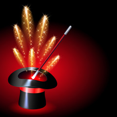 Conjurer hat with sparkle fireworks
