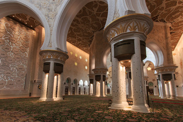 Interior of the Sheikh Zayed Grand Mosque in Abu Dhabi