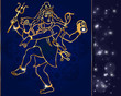 Постер, плакат: Hindu deity lord Shiva on a sparkling background