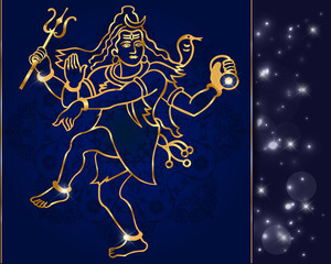 Hindu deity lord Shiva on a sparkling background