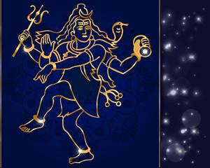 Hindu deity lord Shiva on a sparkling background