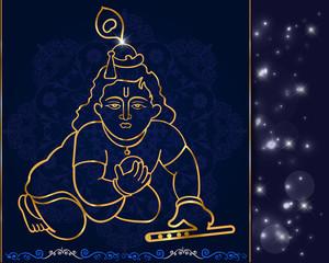 bal Krishna with flute,hindu god krishna artwork vector