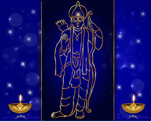 Happy diwali with Illustration of Lord Ram for deepavali vector