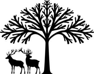 Deers under the tree