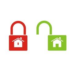 Iconos candado casa cerrado abierto color