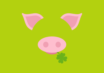 Abstract Card Pig Clover Green DIN
