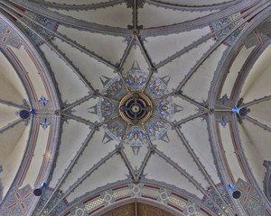 colorful church dome interior, Altenburg, Germany