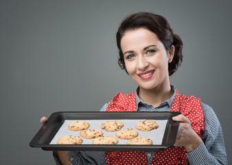 Vintage woman preparing homemade cookies