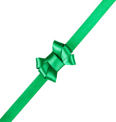 green satin ribbon tied in a bow isolated on white background