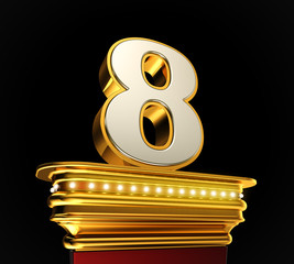 Number Eight on golden platform over black background
