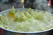Sweet corn cooked in a pot
