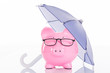 canvas print picture - Piggybank Under Umbrella