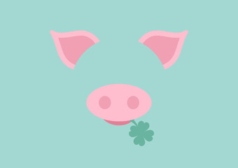 Abstract Card Pig Clover Retro DIN