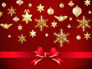 Christmas knitted red background. EPS 10