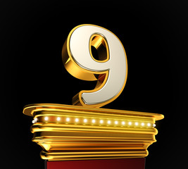 Number Nine on golden platform over black background