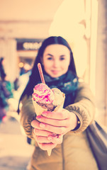Girl with ice cream in hands