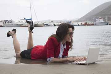 woman lying at beac