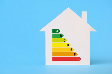 Paper house with energy efficiency chart