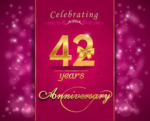 42 year celebration sparkling card, 42nd anniversary