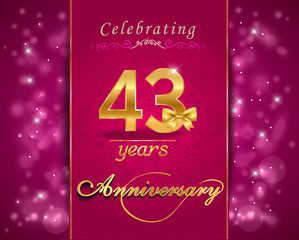 43 year celebration sparkling card, 43rd anniversary