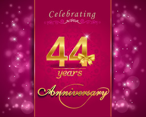 44 year celebration sparkling card, 44th anniversary