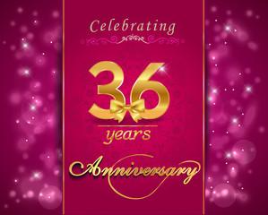36 year celebration sparkling card, 36th anniversary