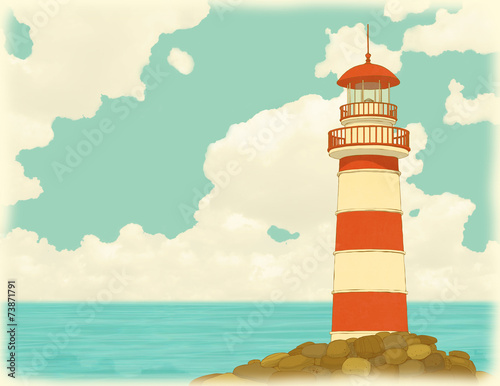 Old striped lighthouse on the background of sky and sea