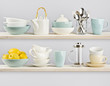Kitchenware on wooden shelves - 73871960