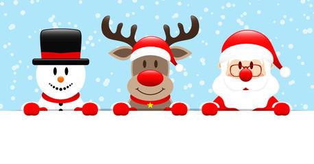 Snowman, Rudolph & Santa Banner Snow Blue