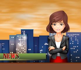A female reporter