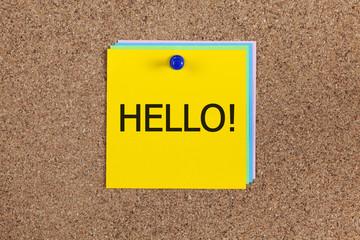 Hello! on corkboard