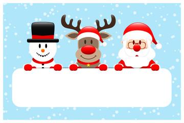 Giftcard Snowman, Rudolph & Santa Banner Snow Blue