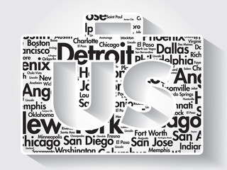 US Suitcase cities names words cloud, vector background