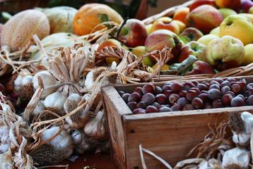 Hazelnuts, apples, garlic and melon