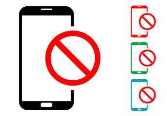 Pictograma smartphone con prohibicion con varios colores