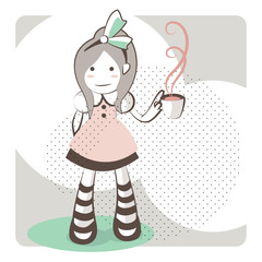 Outline little girl wearing a green bow with a tea cup