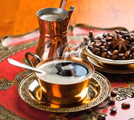 Black coffee in oriental style