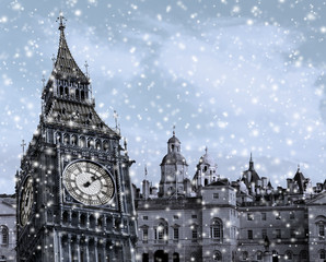 London Big Ben Composing mit Schneeflocken