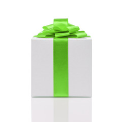 gift box with handmade green ribbon bow