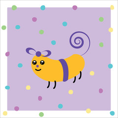 Cartoon animated gift smiling on a violet dots background