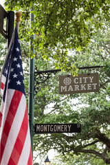 American Flag on Montogonery Street in City Park Savannah
