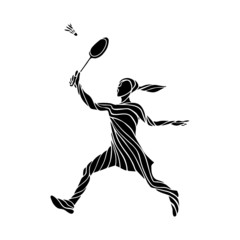 Stylized silhouette of female badminton player