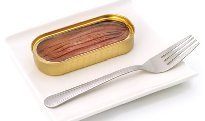 tin of anchovies filleted open tray
