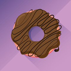 Chocolate donut with glaze, flat design vector image