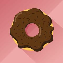 Chocolate donut with pralines, flat desig