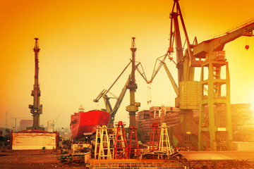 Cranes in historical shipyard in Gdansk, Poland