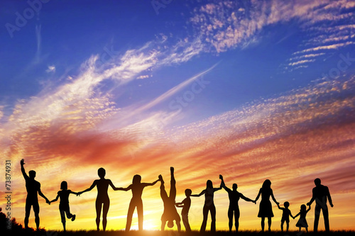 canvas print picture Happy group of diverse people, friends, family, team together