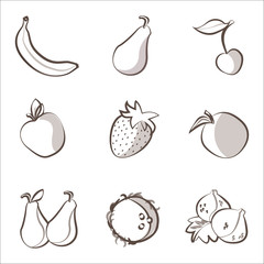 Outline fruits set: banana, pear, cherry, apple, orange ecc