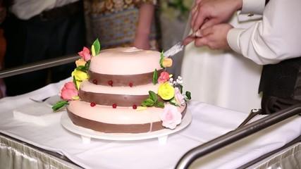 the couple cut their wedding cake