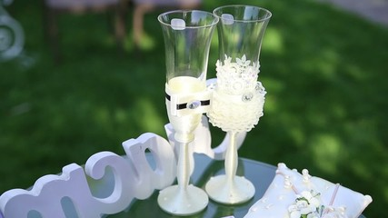 glasses for wedding decoration at the ceremony